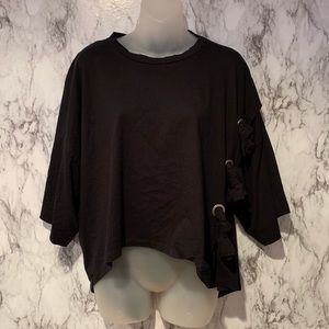 Zara Knotted Side Tie Oversized T Shirt Top Black